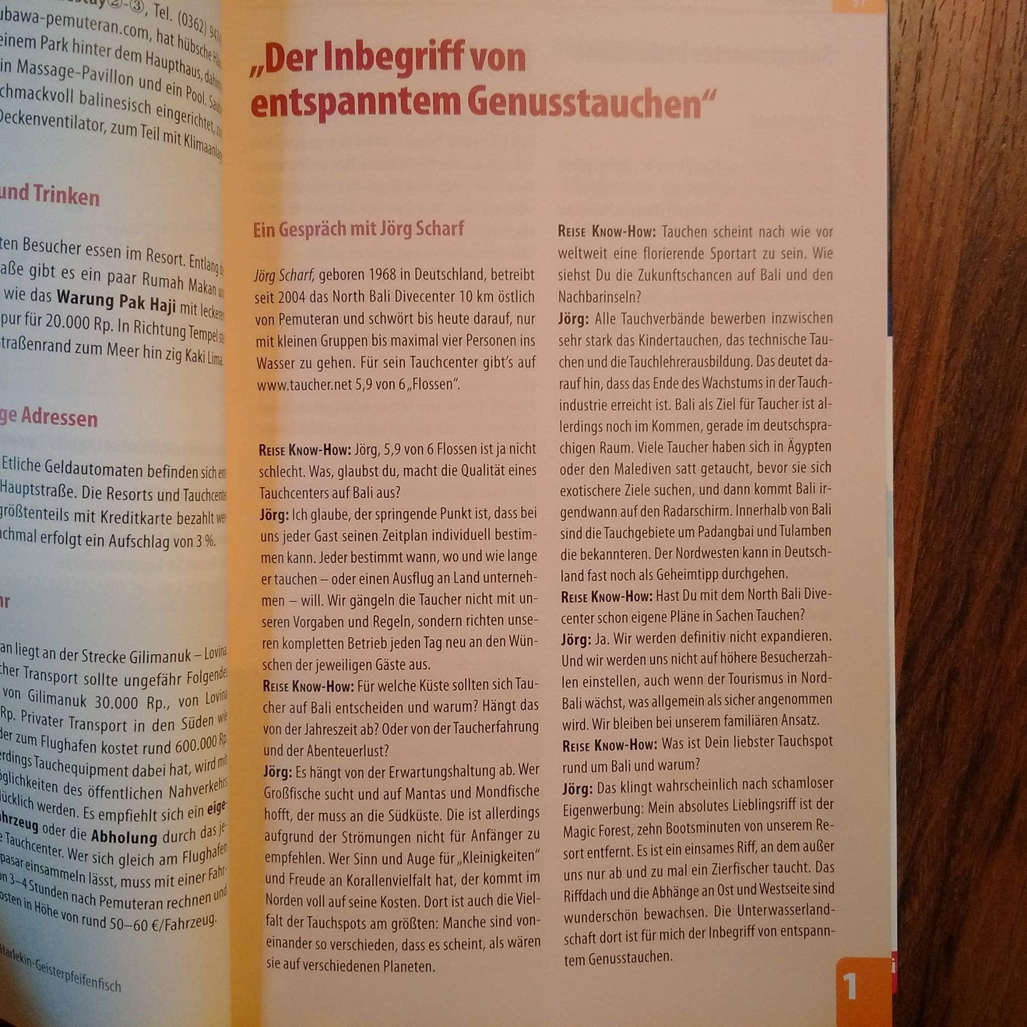 Auszug Bali Divecenter Artikel in einem Buch