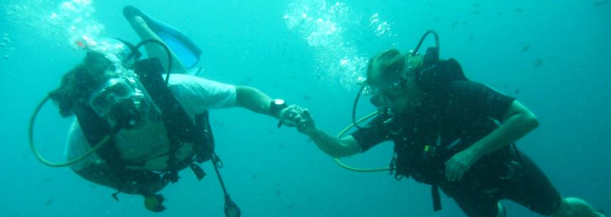 Zwei Taucher reichen Sich die Hand unter Wasser